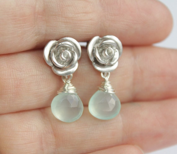 Rose and chalcedony post earrings - silver
