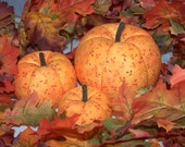 Family of 3 Fabric Pumpkins for Fall Autumn Halloween Lots of Designs