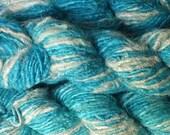 SALE 20% OFF Banana Silk Yarn - Turquoise and White
