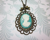 Turquoise Lady Cameo Necklace.  Lovely gift for her.