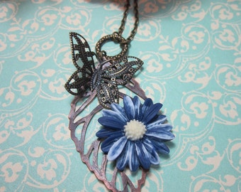 Blue Daisy with butterfly charm Necklace.  Lovely gift for her. Summer.  Nature inspired.
