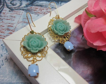Mint Green Rose with opaque blue vintage glass jewel Earrings. Lovely Gift