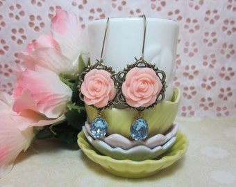 Soft Peach Rose with aqua blue glass jewel Earrings. Bridal Jewelry. Gift for her. Birthday, Christmas.