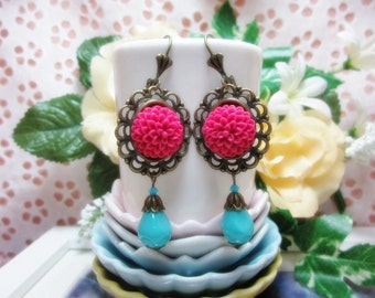 Raspberry Dahlia with turquoise mother of pearl bead Earrings.    Lovely Gift for her.