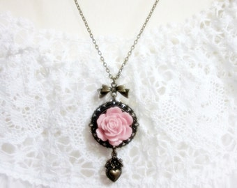 Pink Rose Necklace.  Lovely Gift for her. Birthday, Christmas.