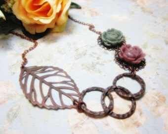 Copper Leaf with mauve and green roses Necklace. Love Autumn. Gift for her.  Anniversary, Birthday, Christmas.
