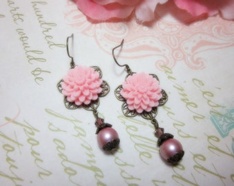 Pink Dahlia Chrissy with frost pink swarovski crystal Earrings. Gift for her. Birthday, Christmas. Bridesmaids. Maid of Honor.