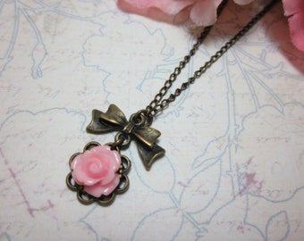 Pink Rose Necklace. Lovely gift for her.  Birthday, Christmas, Bridemaids, Maid of Honor.