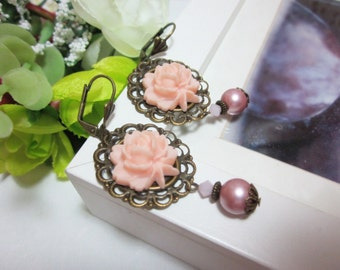 Pink Rose with frost pink swarovski pearls Earrings. Gift for her. Birthday, Bridesmaid, Christmas, Valentine.