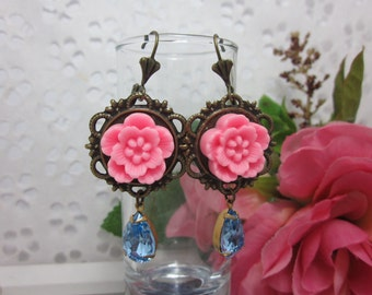 Pink flower with light blue vintage glass jewel Earrings. Gift for her.  Anniversary, Birthday, Christmas, Bridesmaid, Maid of Honor.