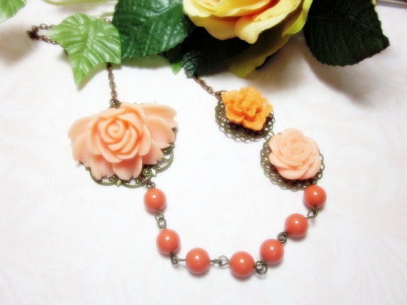 Peach Roses and Orange Sakura Necklace.  Gift for her.  Anniversary, Birthday, Garden Wedding. Maid of honor.