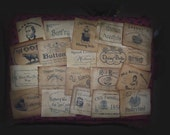 Non Food Themed Primitive Pantry Paper Labels Laundry Candles Sewing Set of 20