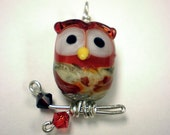 Lampworked Glass Owl Pendant- Red