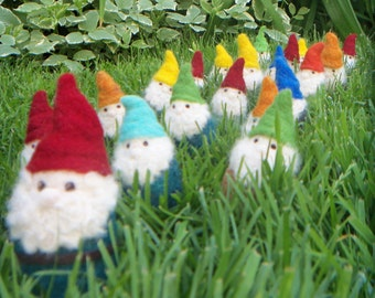 Pocket Gnome - Needle Felted Gnome - Felt Gnome wearing YOUR CHOICE of colors