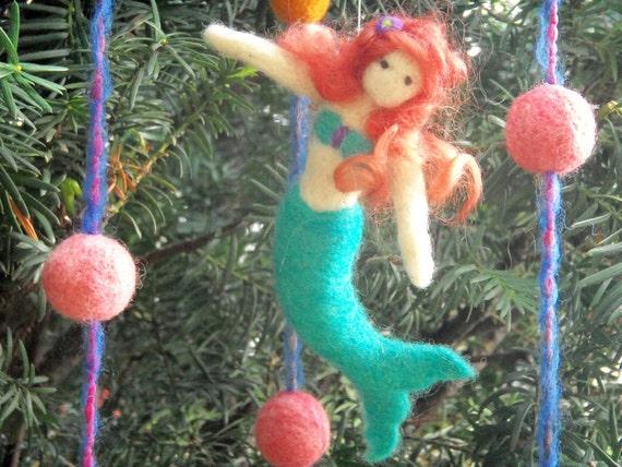 Mermaid Mobile - Needle Felted Mermaid - Waldorf Inspired Mermaid in Teal