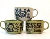 Folk Stoneware Soup Mugs - Set of 3