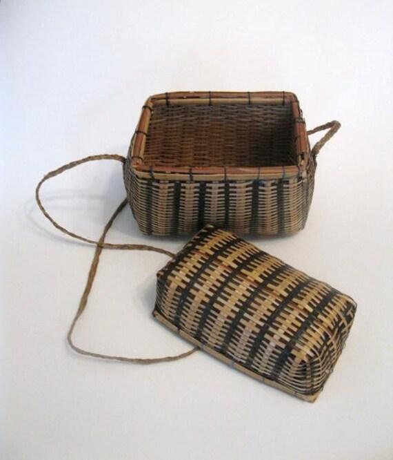 Vintage Woven Hanging Basket