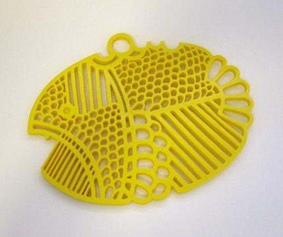 Vintage Dansk Fish Trivet - Yellow