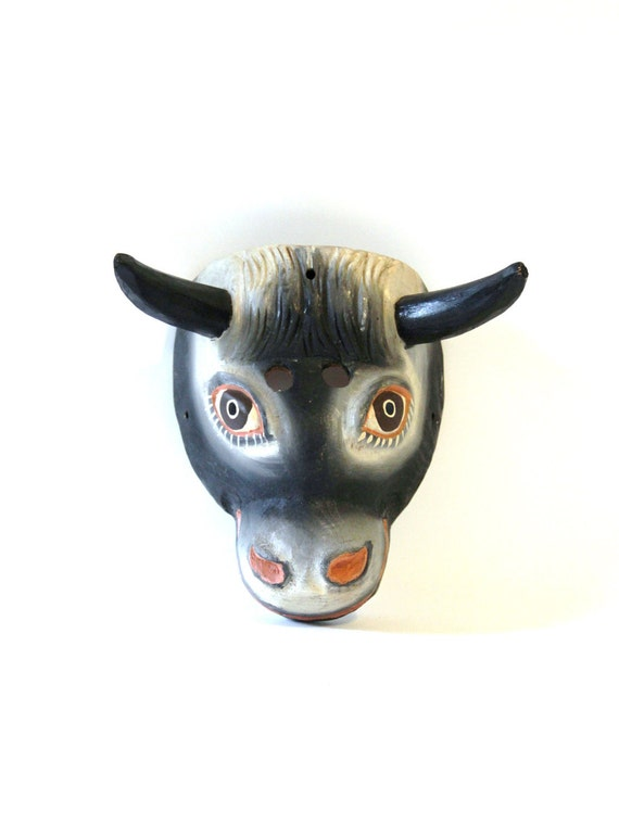Vintage Wooden Cow Bull Mask