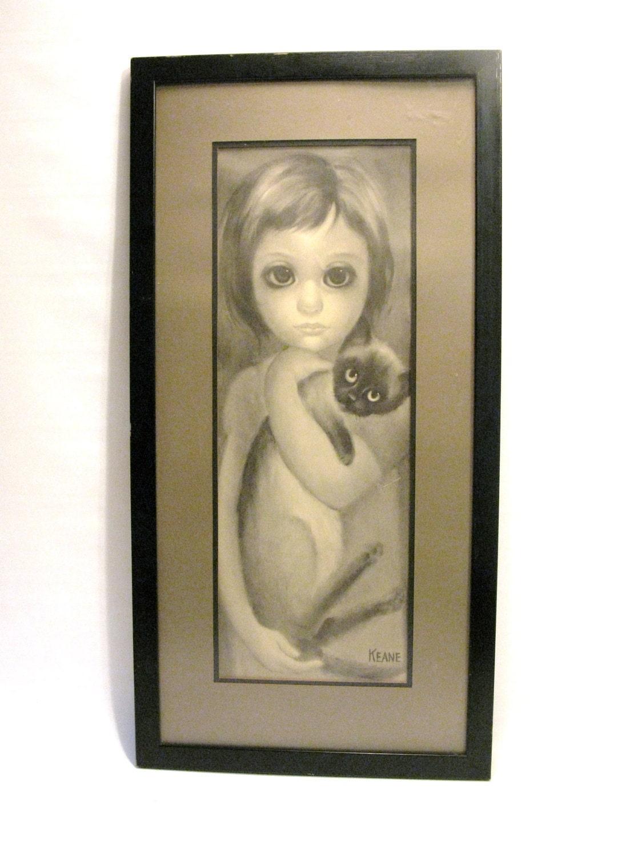 1960s Keane Big Eyed Girl Amp Cat Framed Print