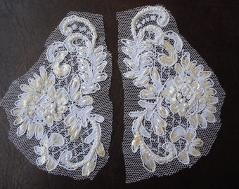 Cosplay or Bridal Applique- Vintage -  beaded and sequined SET of 2