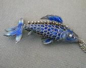 Chinese Enamel Cloisonne Fish Carp Koi Necklace Blue