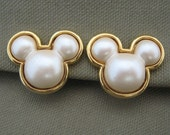 Disney Signed Mickey Mouse Pearl Earrings