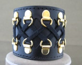 Black Leather and Lace Cuff Bracelet
