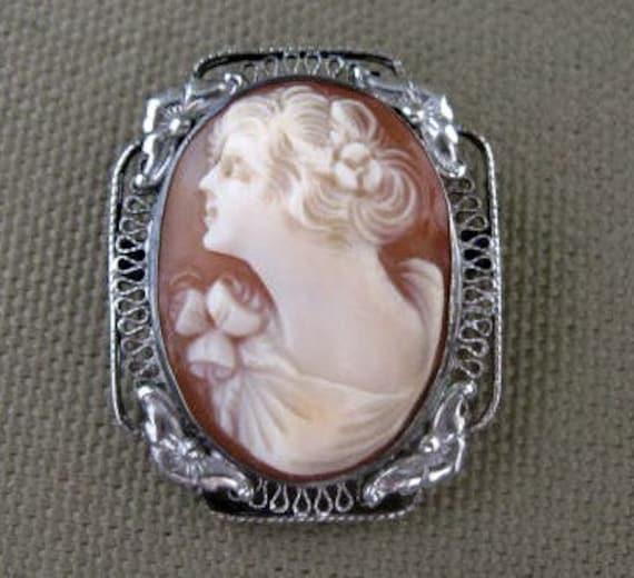 Antique Sterling Peach Cameo Goddess Brooch