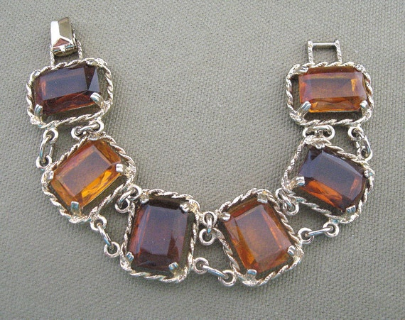 Sarah Coventry Bracelet Root Beer Topaz Glass Stones