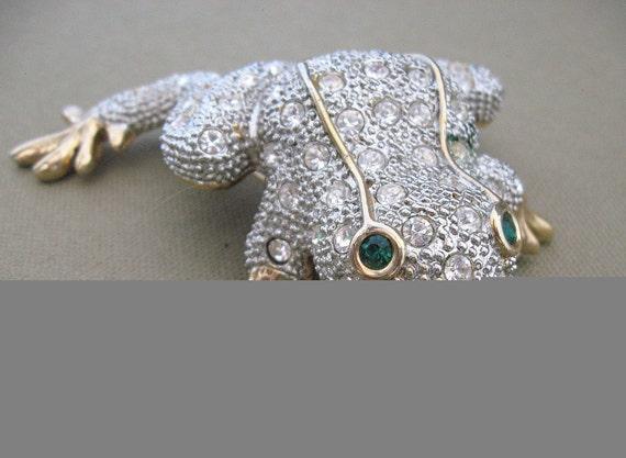 Vintage Rhinestone Frog Brooch Pin Extra Large