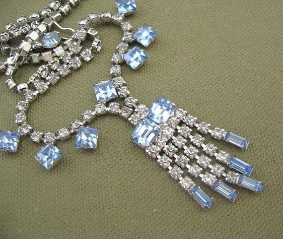 Blue and Clear Rhinestone Draping Necklace, Vintage Wiesner, Designer Signed Jewelry on sale