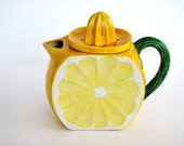 Vintage Lemonade Pitcher with Lemon Juicer on Top Ceramic Handmade
