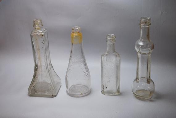 Antique BOTTLES Vintage Bottles odd shape MEDICINE / Oil bottles Instant collection bottle lot decor Embossing
