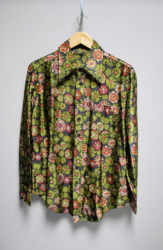 Vintage Floral Disco Shirt smooth shinny poly retro delight mens womens medium large
