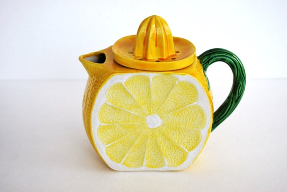 Vintage Lemonade Pitcher with Lemon Juicer on Top Ceramic Handmade