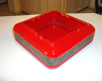 Big Red Vintage Ashtray or Repurposed Nut Dish, Chaney, Vohann