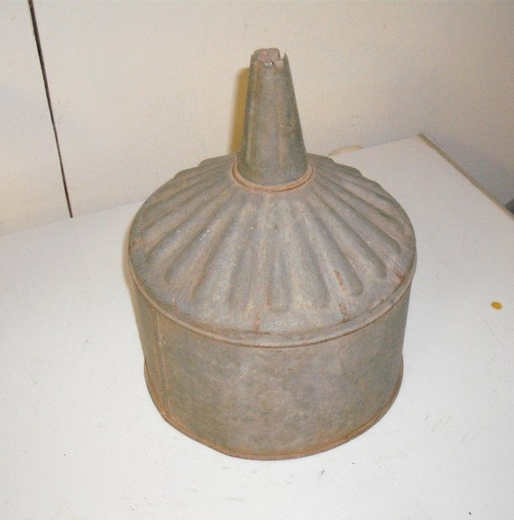 Large Vintage Galvanized Funnel Oil Can