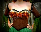 Renaissance Brown Feather Corset with Sleevelets