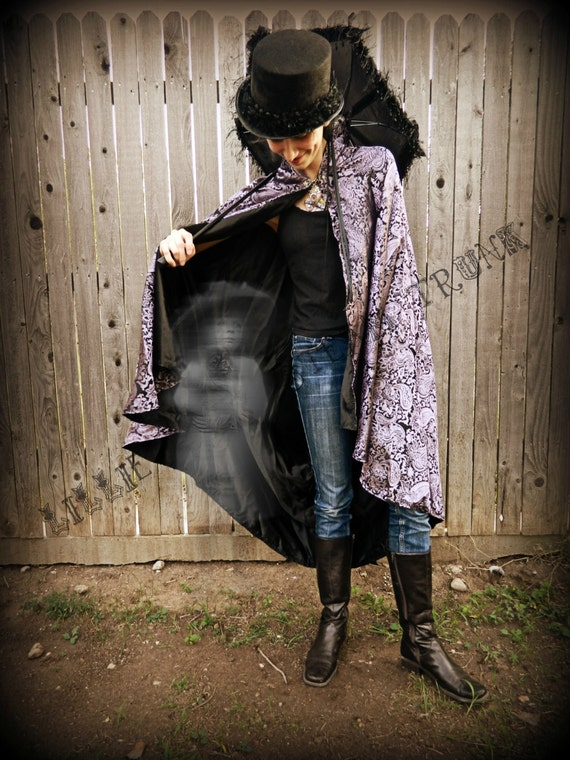 Steampunk Victorian purple/black cape