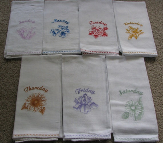Flour sack dish towels days of the week machine embroidery