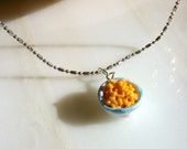 RESERVED for aaoo9900 Macaroni and Cheese Necklace- Tiny Food Handmade Jewelry