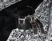 Leather and Stainless Steel Cuff Bracelet with Cuff Ring and Earrings Set.