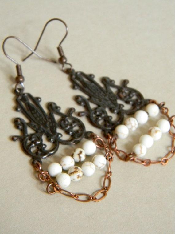 Copper and White Howlite Chandelier Earrings