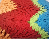 aqua red green and blue child/toddler afghan