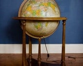 RESERVED FOR JANET - Vintage Replogle 16 Inch Lighted Heirloom Globe with Floor Stand