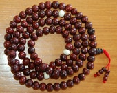 Rosewood mala 108 beads with yak bone spacers for meditation BM-27