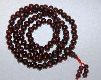 108 Rosewood bead Mala with beaded tassle
