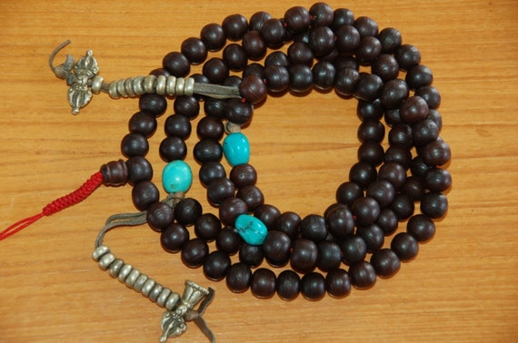 Traditional bodhi Seed mala with brass counters
