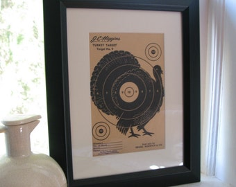 1950s strutting turkey target for wall art or shooting practice - black and tan